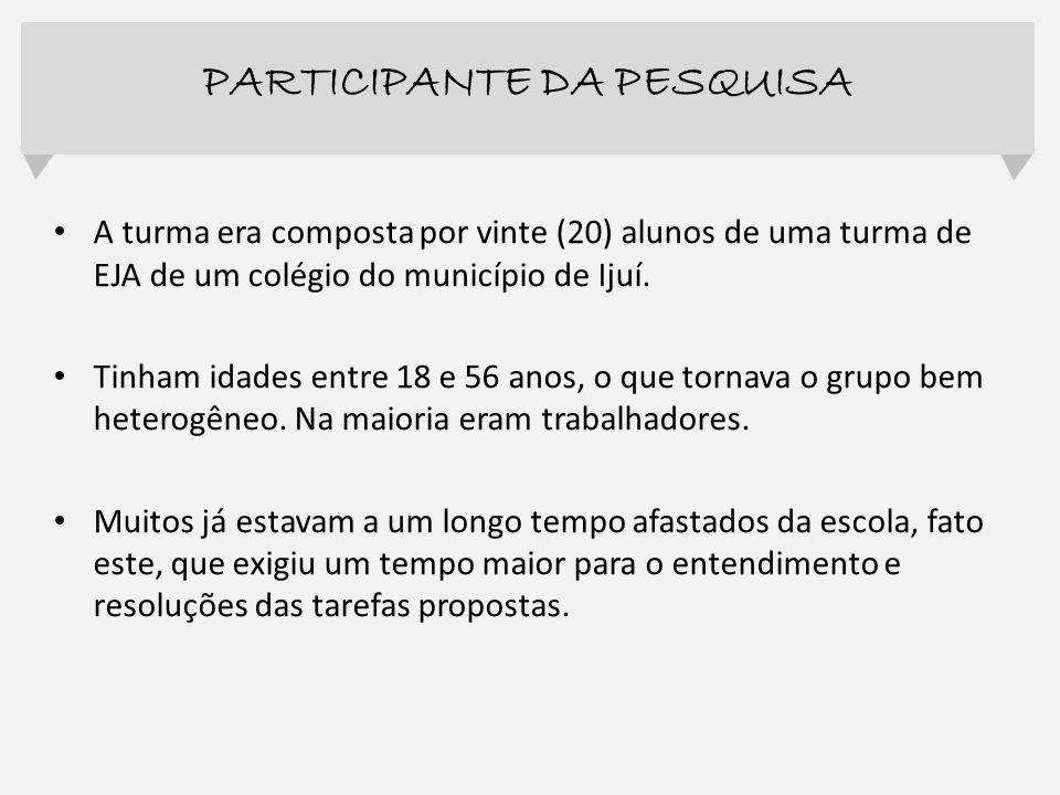 A turma era composta por vinte (20) alunos de uma turma de EJA de um colégio do município de Ijuí. Tinham idades entre 18 e 56 anos, o que tornava o g