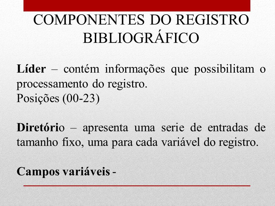 COMPONENTES DO REGISTRO BIBLIOGRÁFICO Líder – contém informações que possibilitam o processamento do registro. Posições (00-23) Diretório – apresenta