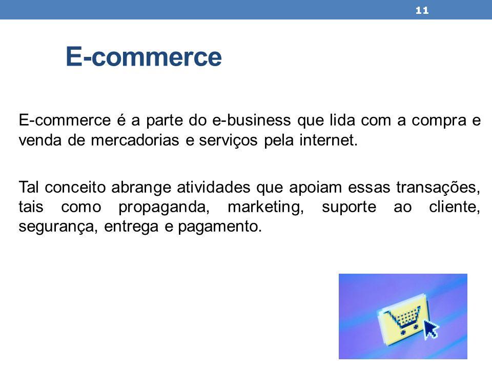 E-commerce E-commerce é a parte do e-business que lida com a compra e venda de mercadorias e serviços pela internet. Tal conceito abrange atividades q