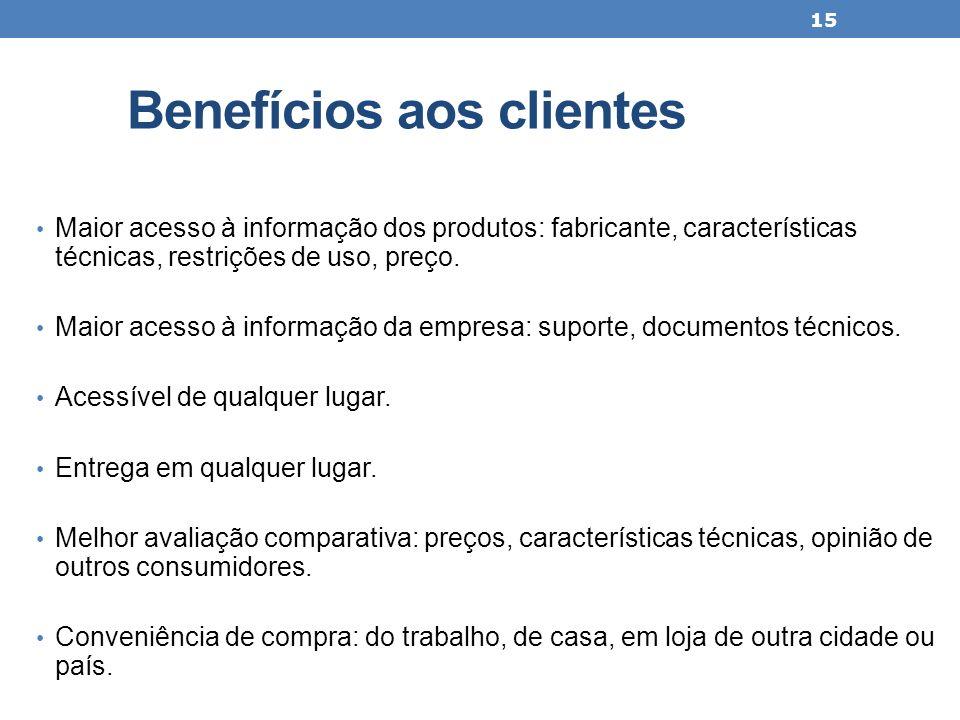 Benefícios aos clientes Maior acesso à informação dos produtos: fabricante, características técnicas, restrições de uso, preço. Maior acesso à informa