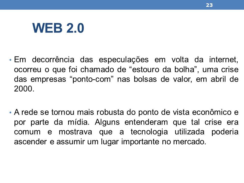 WEB 2.0 Em decorrência das especulações em volta da internet, ocorreu o que foi chamado de estouro da bolha, uma crise das empresas ponto-com nas bols