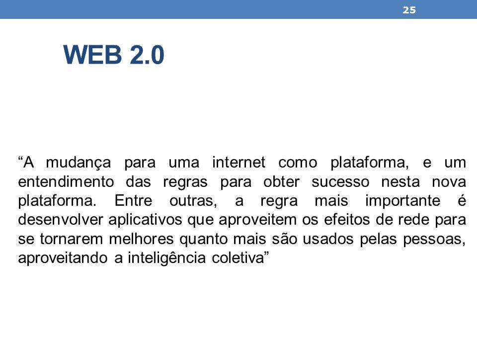 WEB 2.0 A mudança para uma internet como plataforma, e um entendimento das regras para obter sucesso nesta nova plataforma. Entre outras, a regra mais