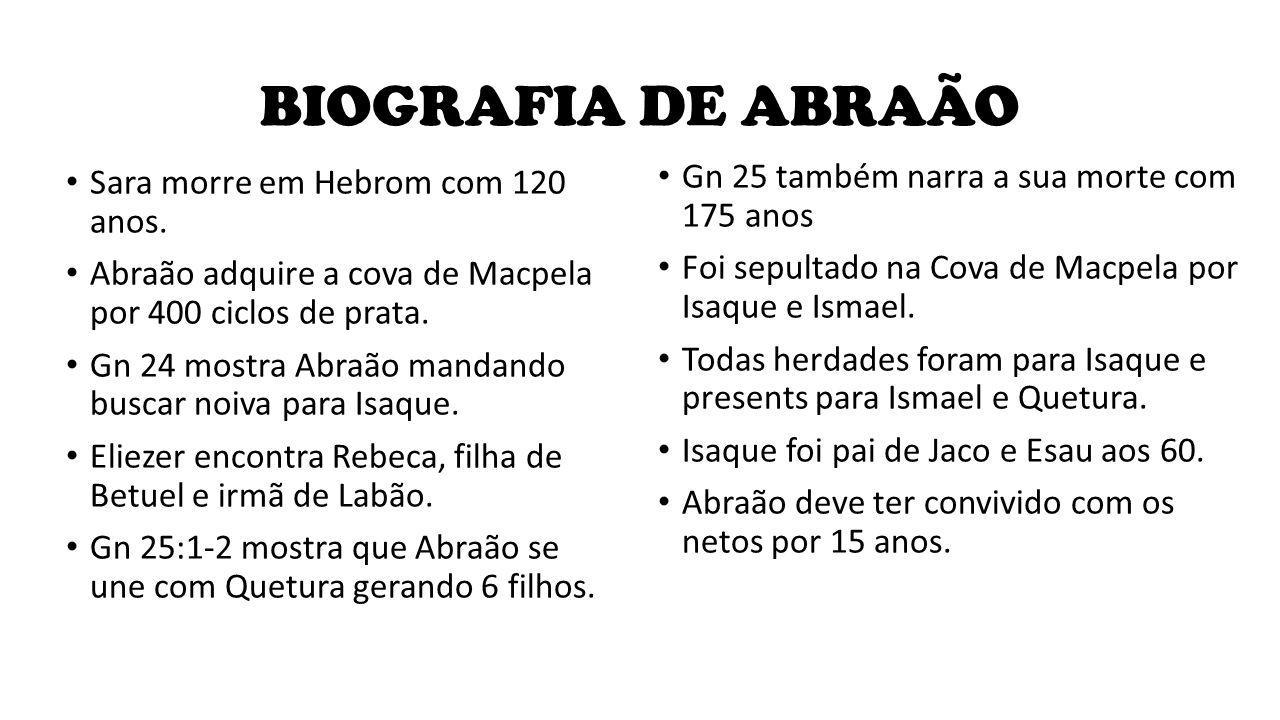 BIOGRAFIA DE ABRAÃO Sara morre em Hebrom com 120 anos. Abraão adquire a cova de Macpela por 400 ciclos de prata. Gn 24 mostra Abraão mandando buscar n