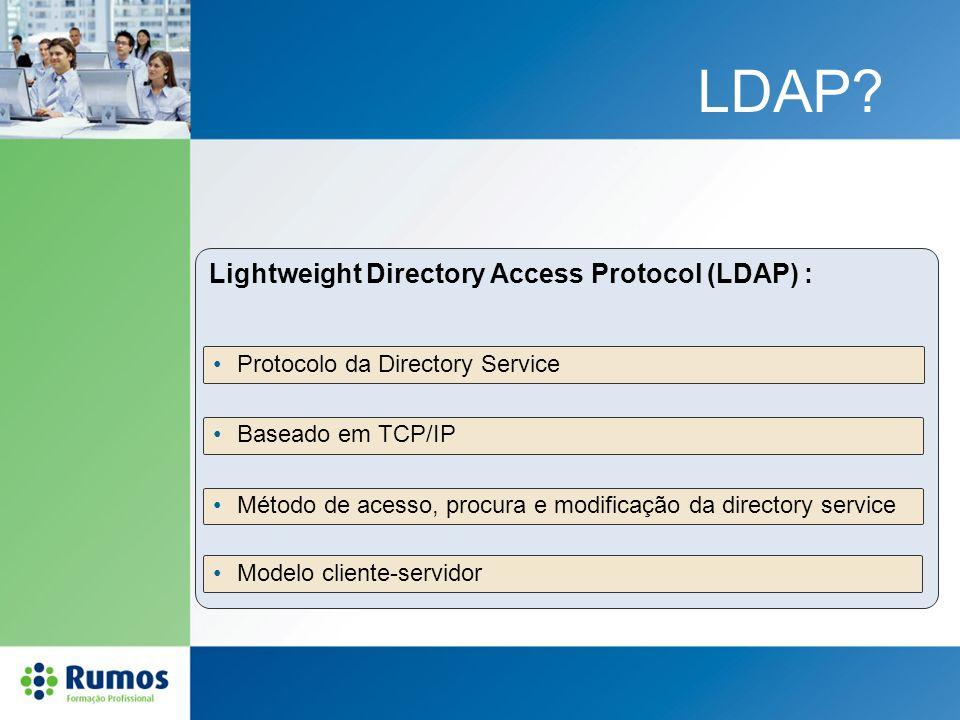 LDAP? Lightweight Directory Access Protocol (LDAP) : Baseado em TCP/IP Método de acesso, procura e modificação da directory service Modelo cliente-ser