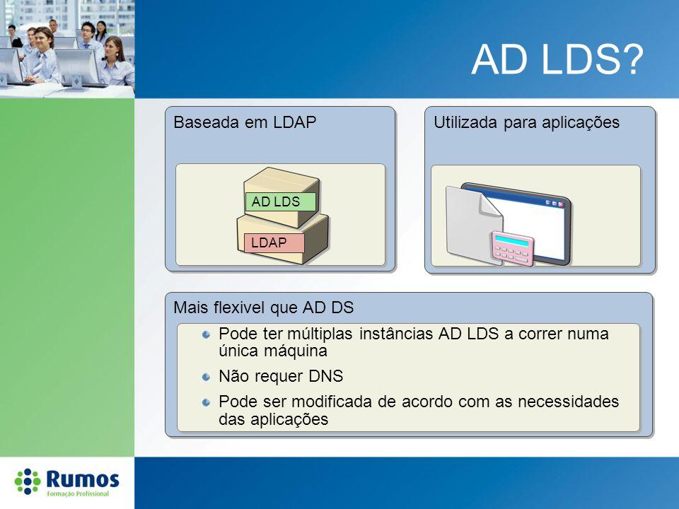 AD LDS? Baseada em LDAP Mais flexivel que AD DS Utilizada para aplicações AD LDS LDAP Pode ter múltiplas instâncias AD LDS a correr numa única máquina