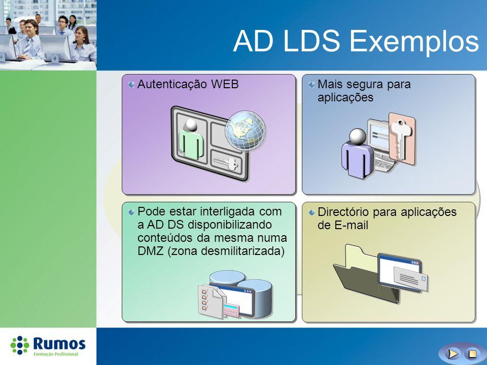 AD LDS Exemplos Mais segura para aplicações Autenticação WEB Directório para aplicações de E-mail Pode estar interligada com a AD DS disponibilizando