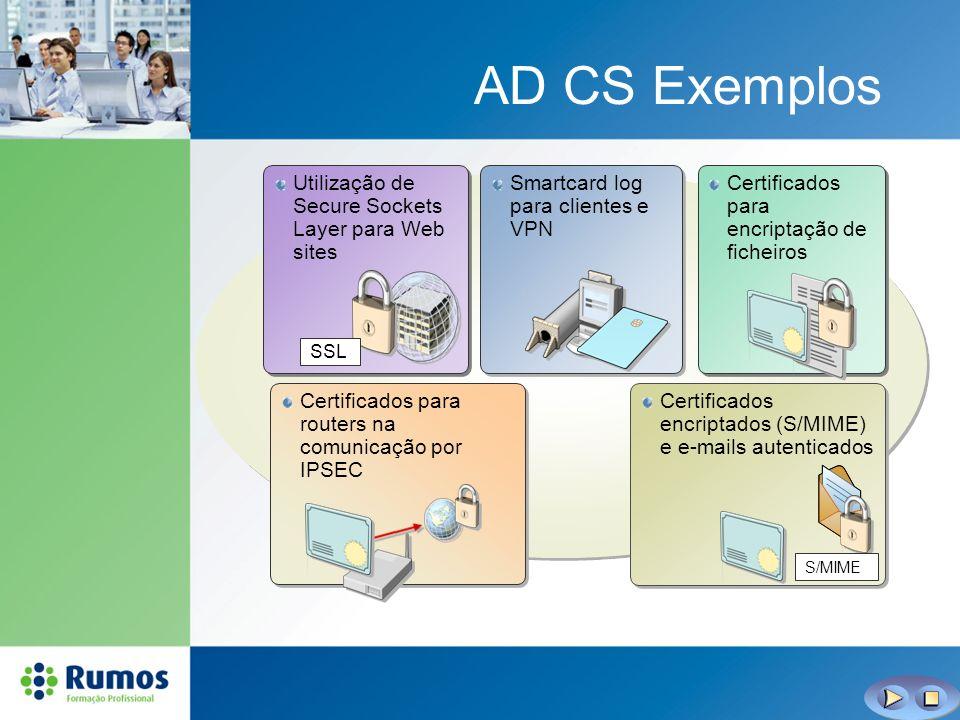 AD CS Exemplos Smartcard log para clientes e VPN Utilização de Secure Sockets Layer para Web sites SSL Certificados para encriptação de ficheiros Cert