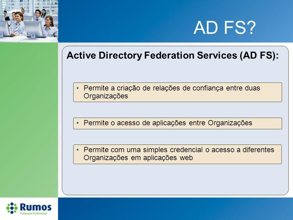 AD FS? Active Directory Federation Services (AD FS): Permite a criação de relações de confiança entre duas Organizações Permite o acesso de aplicações