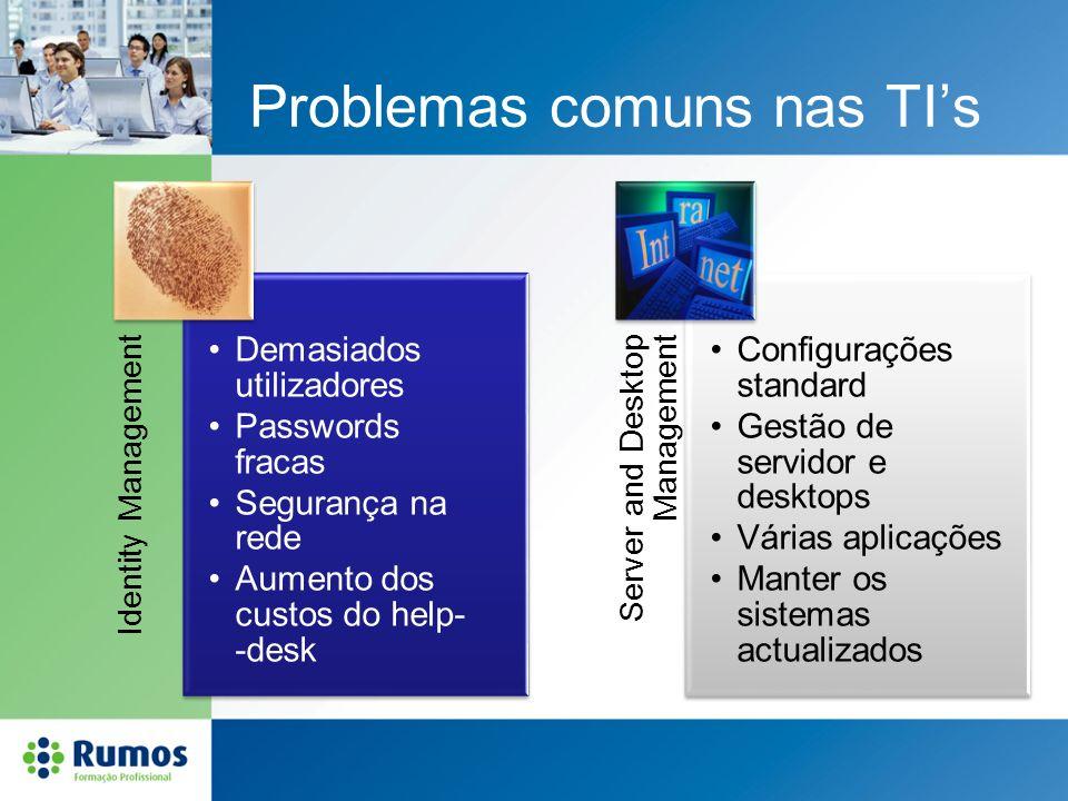 Problemas comuns nas TIs Identity Management Demasiados utilizadores Passwords fracas Segurança na rede Aumento dos custos do help- -desk Server and D