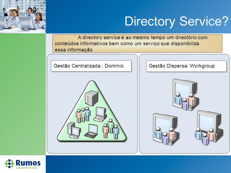 Directory Service? Gestão Centralizada : Domínio Gestão Dispersa: Workgroup A directory service é ao mesmo tempo um directório com conteúdos informati