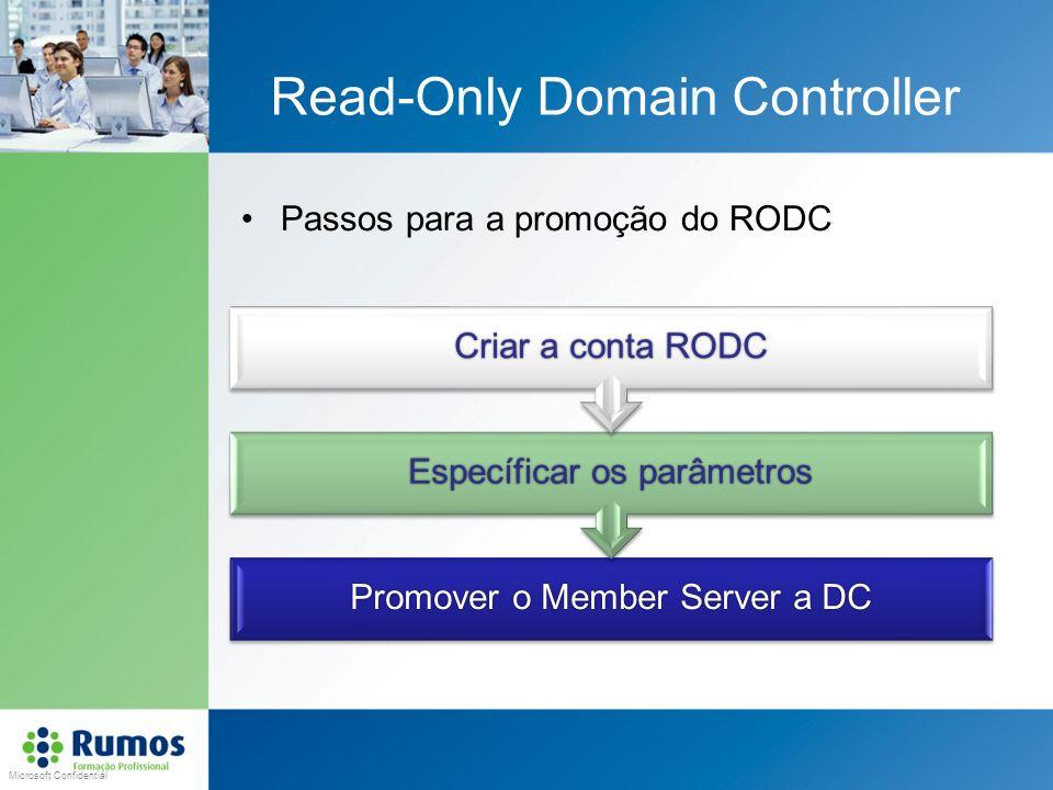 Microsoft Confidential Read-Only Domain Controller Passos para a promoção do RODC Promover o Member Server a DC Específicar os parâmetros Criar a cont