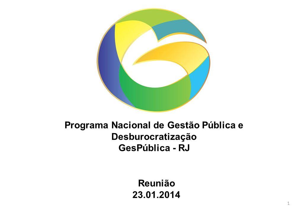 Programa Nacional de Gestão Pública e Desburocratização GesPública - RJ Reunião 23.01.2014 1
