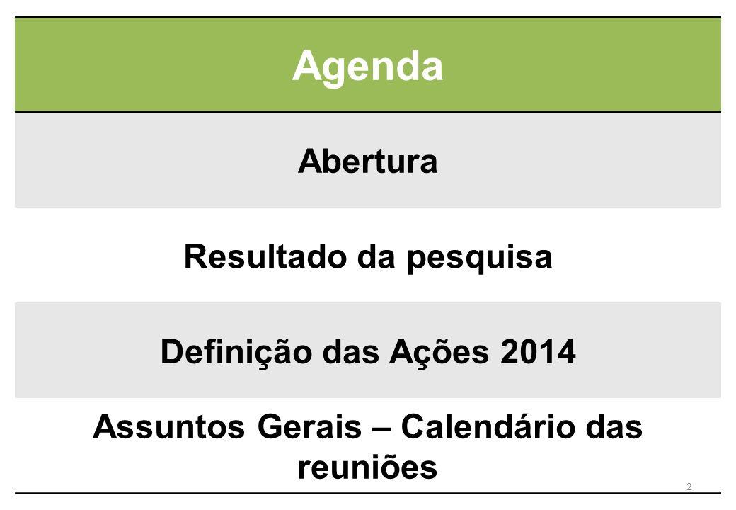 Agenda Abertura Resultado da pesquisa Definição das Ações 2014 Assuntos Gerais – Calendário das reuniões 2