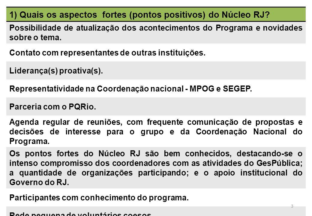 1) Quais os aspectos fortes (pontos positivos) do Núcleo RJ? Possibilidade de atualização dos acontecimentos do Programa e novidades sobre o tema. Con