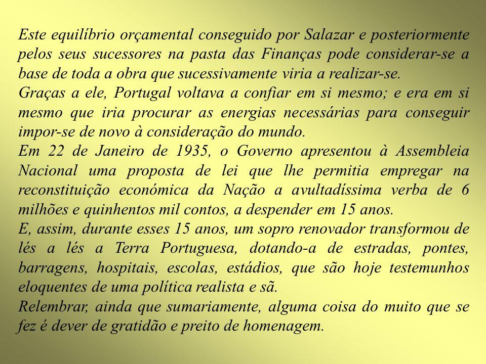 Este equilíbrio orçamental conseguido por Salazar e posteriormente pelos seus sucessores na pasta das Finanças pode considerar-se a base de toda a obr