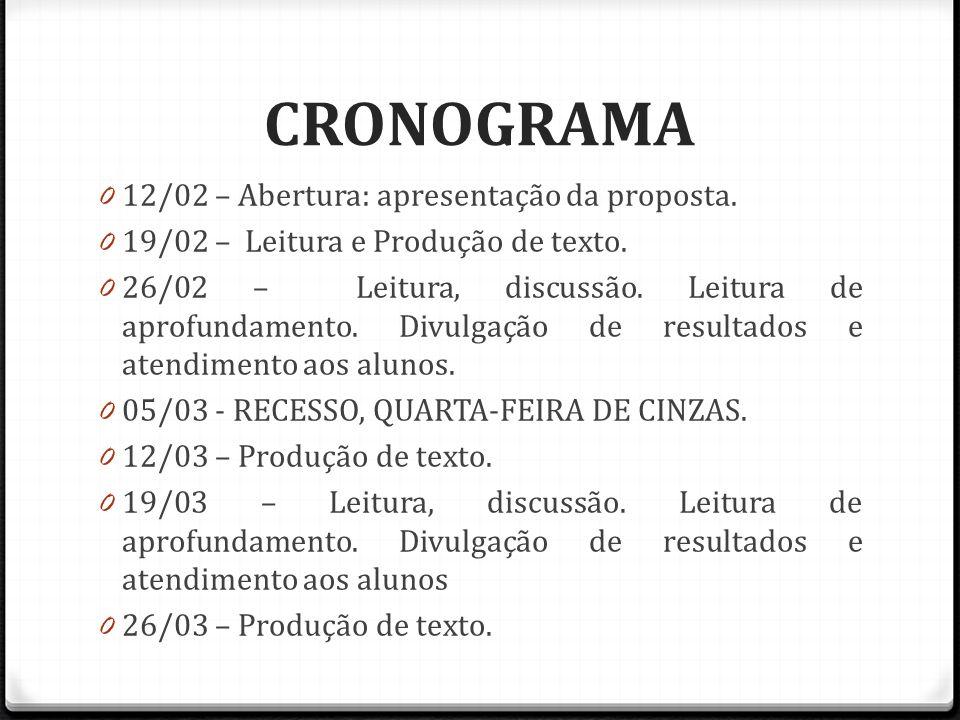 CRONOGRAMA 0 12/02 – Abertura: apresentação da proposta.