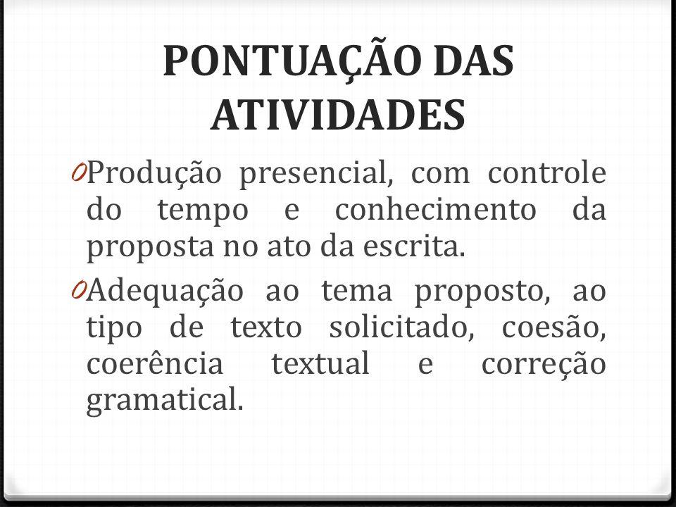 PONTUAÇÃO DAS ATIVIDADES 0 Produção presencial, com controle do tempo e conhecimento da proposta no ato da escrita.
