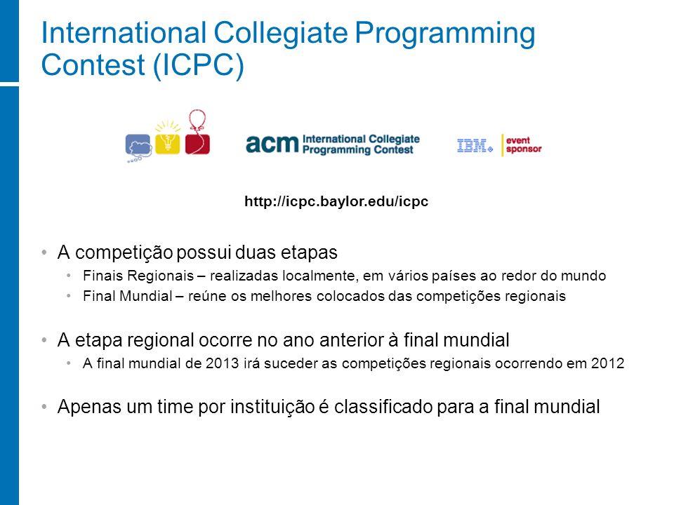 International Collegiate Programming Contest (ICPC) A competição possui duas etapas Finais Regionais – realizadas localmente, em vários países ao redo