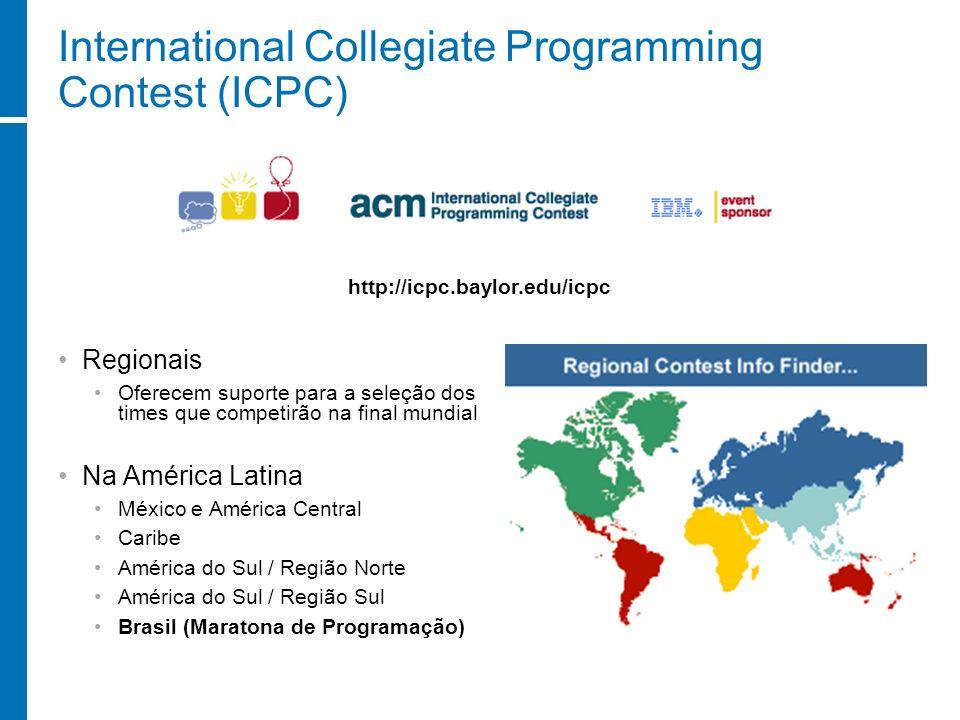 International Collegiate Programming Contest (ICPC) Regionais Oferecem suporte para a seleção dos times que competirão na final mundial Na América Lat