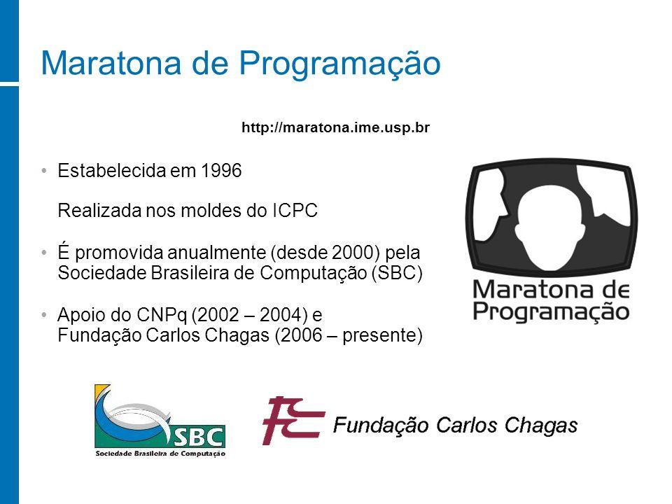 Maratona de Programação Estabelecida em 1996 Realizada nos moldes do ICPC É promovida anualmente (desde 2000) pela Sociedade Brasileira de Computação