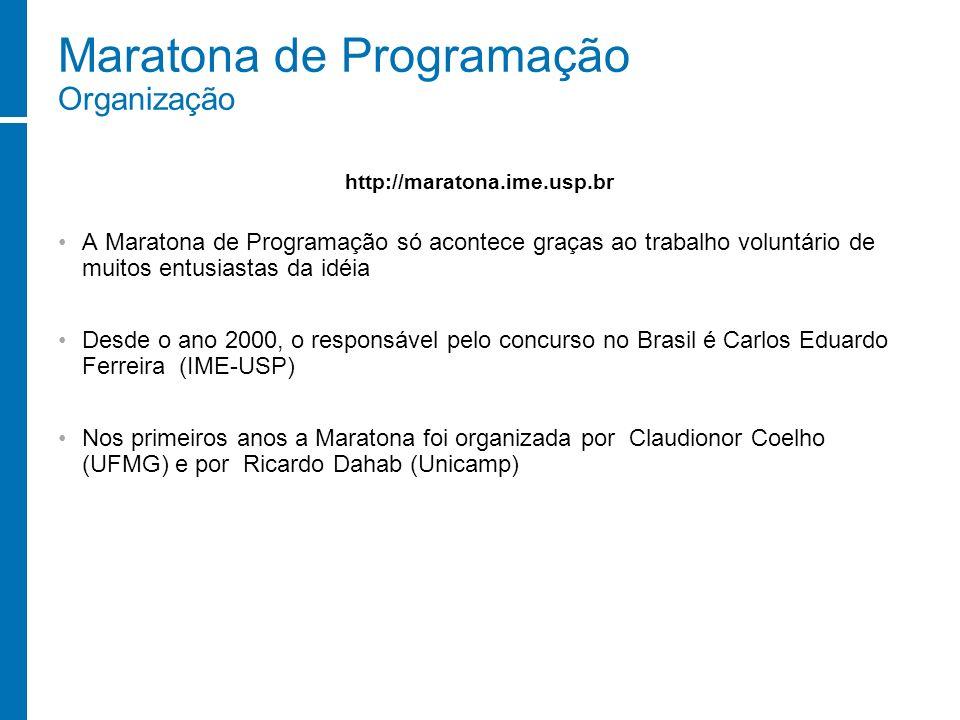 Maratona de Programação Organização A Maratona de Programação só acontece graças ao trabalho voluntário de muitos entusiastas da idéia Desde o ano 200