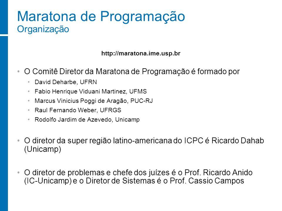 Maratona de Programação Organização O Comitê Diretor da Maratona de Programação é formado por David Deharbe, UFRN Fabio Henrique Viduani Martinez, UFM