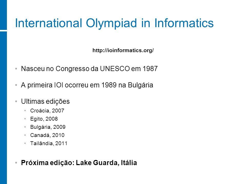 International Olympiad in Informatics Nasceu no Congresso da UNESCO em 1987 A primeira IOI ocorreu em 1989 na Bulgária Ultimas edições Croácia, 2007 E