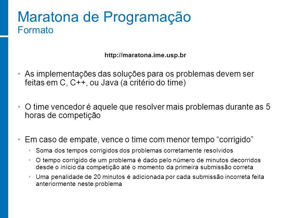 Maratona de Programação Formato As implementações das soluções para os problemas devem ser feitas em C, C++, ou Java (a critério do time) O time vence