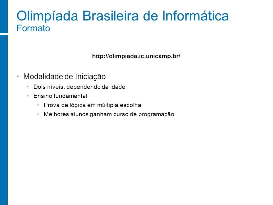 Olimpíada Brasileira de Informática Formato Modalidade de Iniciação Dois níveis, dependendo da idade Ensino fundamental Prova de lógica em múltipla es