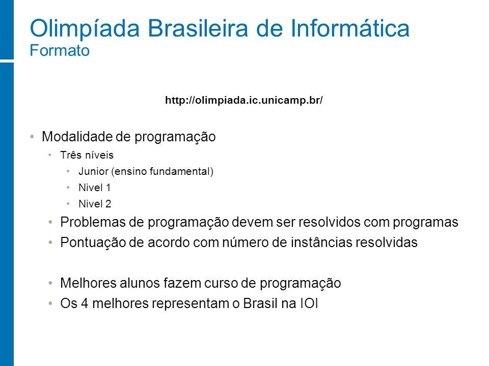Olimpíada Brasileira de Informática Formato Modalidade de programação Três níveis Junior (ensino fundamental) Nivel 1 Nivel 2 Problemas de programação