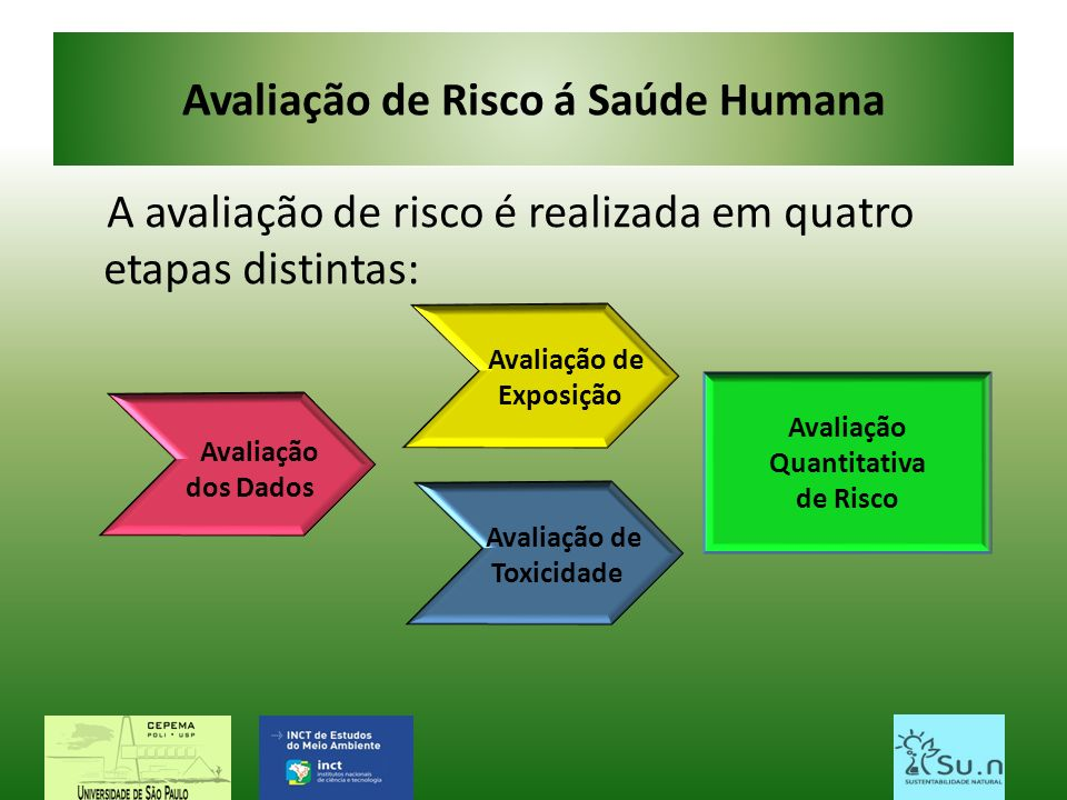 Avaliação de Risco á Saúde Humana A avaliação de risco é realizada em quatro etapas distintas: Avaliação de Exposição Avaliação dos Dados Avaliação de