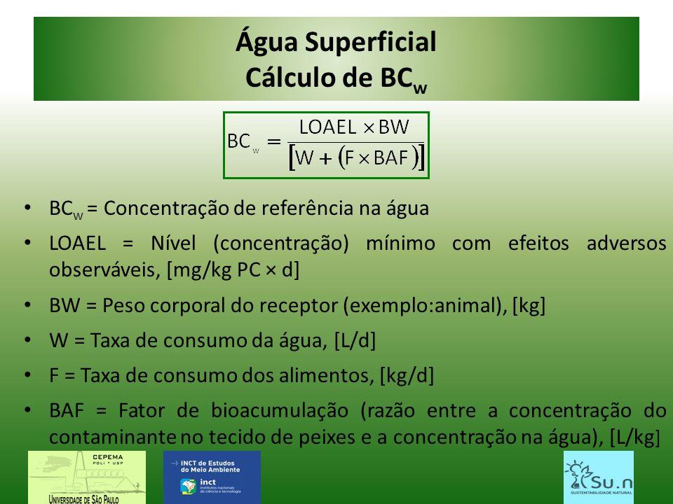 Água Superficial Cálculo de BC w BC w = Concentração de referência na água LOAEL = Nível (concentração) mínimo com efeitos adversos observáveis, [mg/k