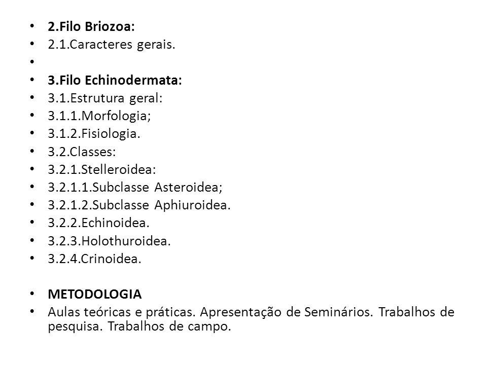 2.Filo Briozoa: 2.1.Caracteres gerais. 3.Filo Echinodermata: 3.1.Estrutura geral: 3.1.1.Morfologia; 3.1.2.Fisiologia. 3.2.Classes: 3.2.1.Stelleroidea: