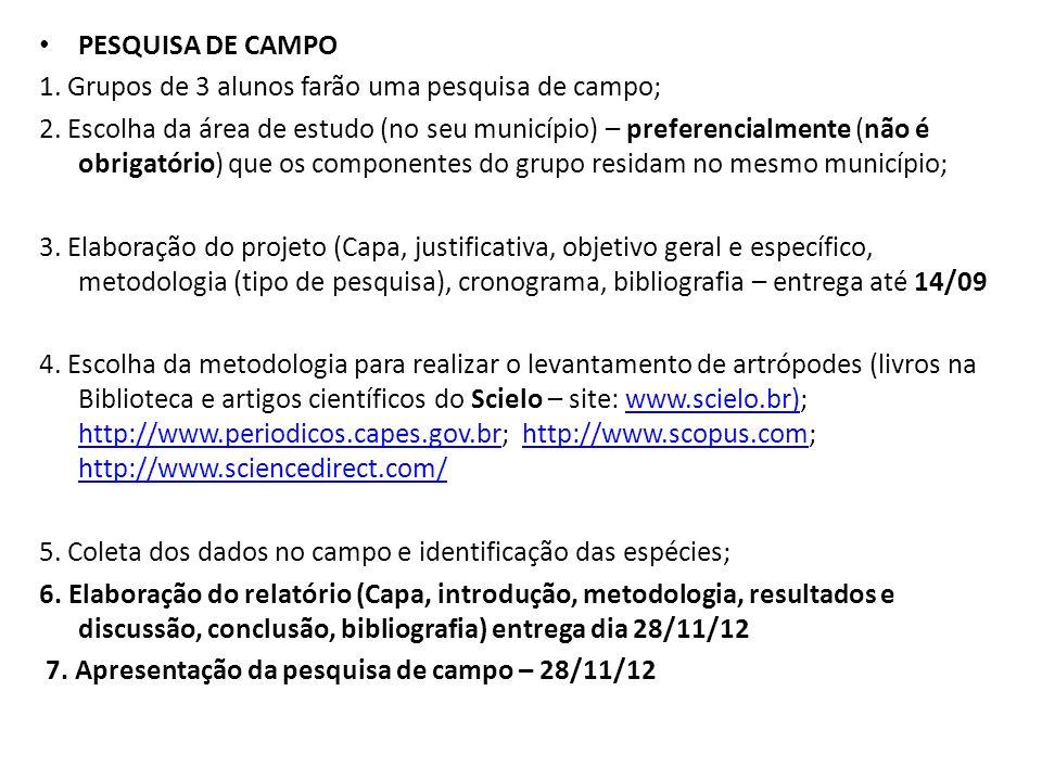 PESQUISA DE CAMPO 1. Grupos de 3 alunos farão uma pesquisa de campo; 2. Escolha da área de estudo (no seu município) – preferencialmente (não é obriga