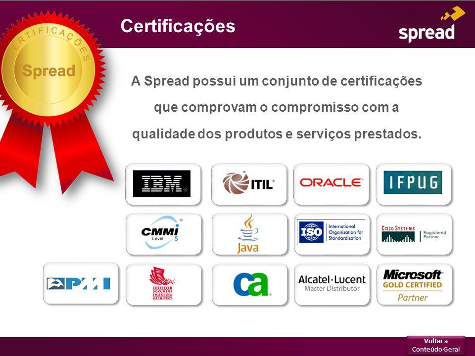 Certificações A Spread possui um conjunto de certificações que comprovam o compromisso com a qualidade dos produtos e serviços prestados. Voltar a Con