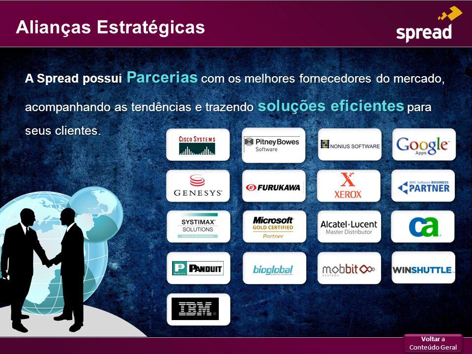 Alianças Estratégicas A Spread possui Parcerias com os melhores fornecedores do mercado, acompanhando as tendências e trazendo soluções eficientes par