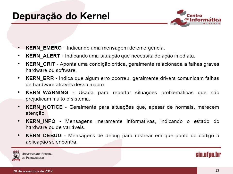 Depuração do Kernel KERN_EMERG - Indicando uma mensagem de emergência. KERN_ALERT - Indicando uma situação que necessita de ação imediata. KERN_CRIT -
