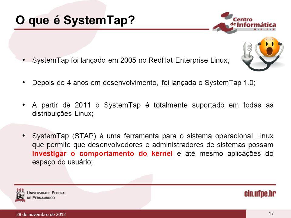 O que é SystemTap? SystemTap foi lançado em 2005 no RedHat Enterprise Linux; Depois de 4 anos em desenvolvimento, foi lançada o SystemTap 1.0; A parti