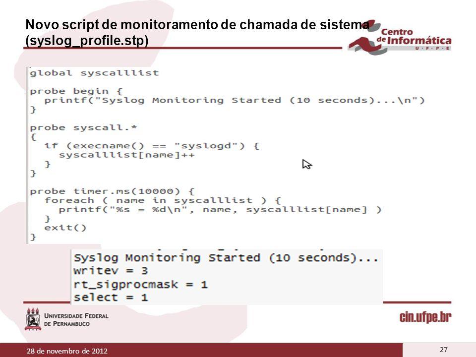 Novo script de monitoramento de chamada de sistema (syslog_profile.stp) 28 de novembro de 2012 27