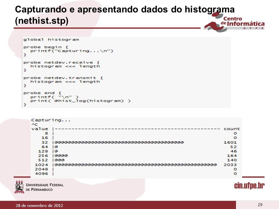 Capturando e apresentando dados do histograma (nethist.stp) 28 de novembro de 2012 29
