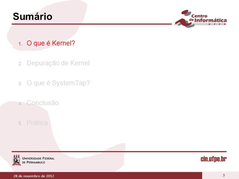 Sumário 1. O que é Kernel? 2. Depuração de Kernel 3. O que é SystemTap? 4. Conclusão 5. Prática 28 de novembro de 2012 3