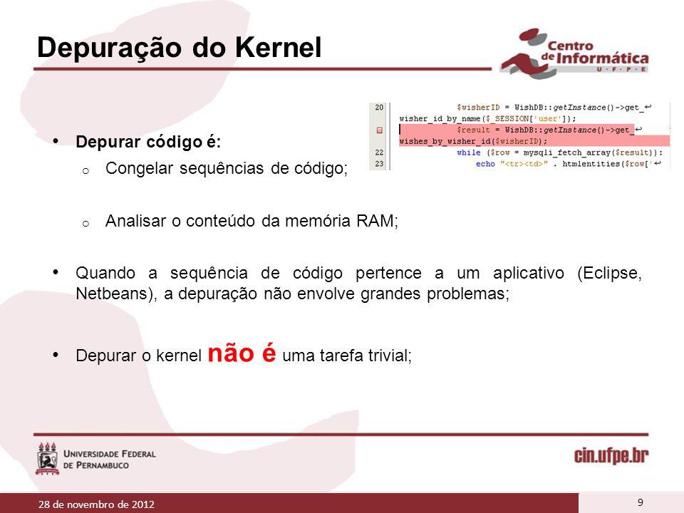 Depuração do Kernel Depurar código é: o Congelar sequências de código; o Analisar o conteúdo da memória RAM; Quando a sequência de código pertence a u