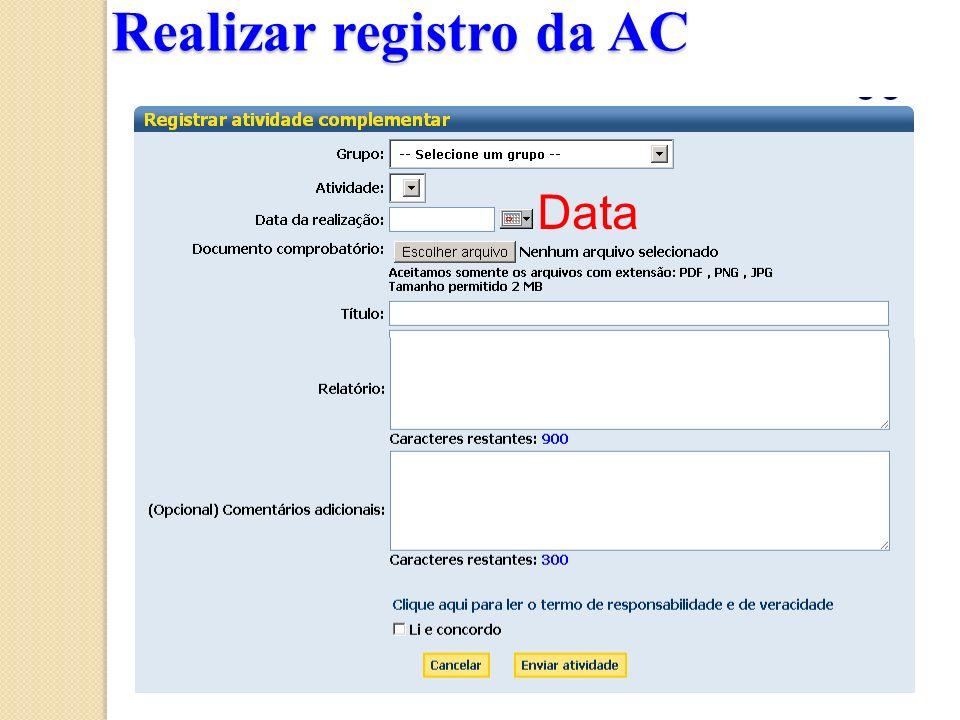 Realizar registro da AC Data