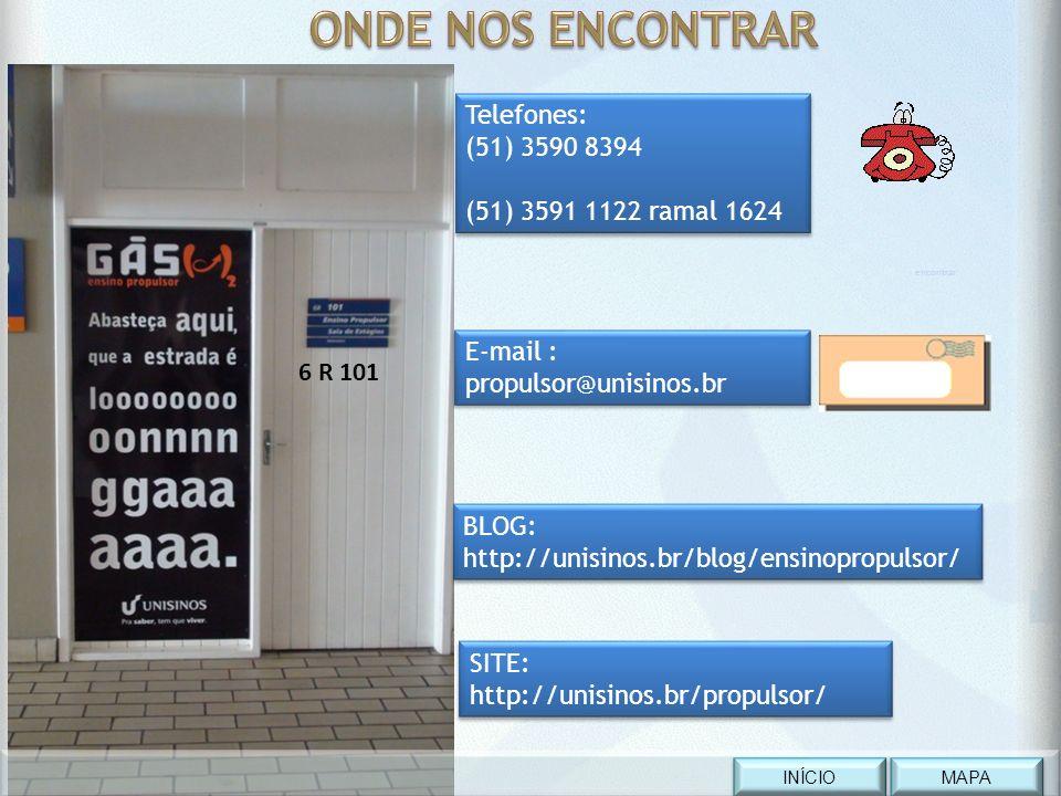 Telefones: (51) 3590 8394 (51) 3591 1122 ramal 1624 Telefones: (51) 3590 8394 (51) 3591 1122 ramal 1624 6 R 101 E-mail : propulsor@unisinos.br E-mail