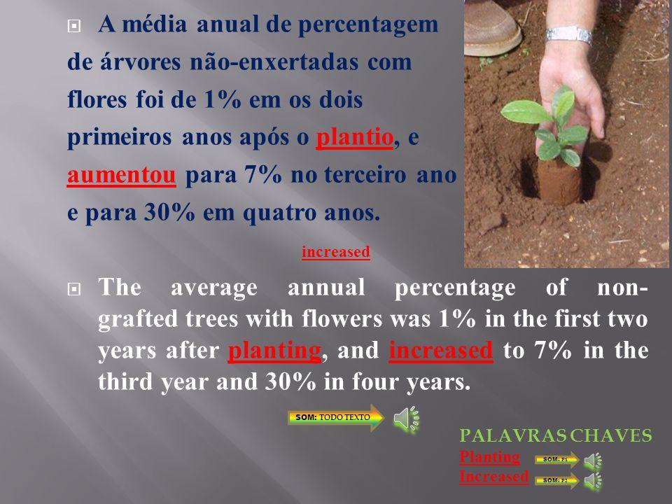 ESTÁGIOS DE CRESCIMENTO SOM: P2 ÁRVORES COM FLORES (%) SOM: P1 Enxertado Polinização aberta