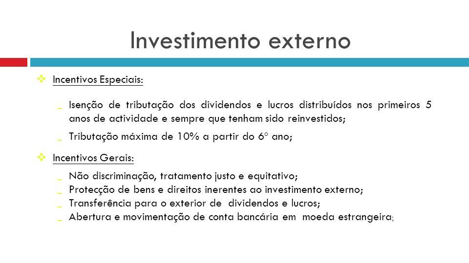 Investimento externo Incentivos Especiais: Isenção de tributação dos dividendos e lucros distribuídos nos primeiros 5 anos de actividade e sempre que