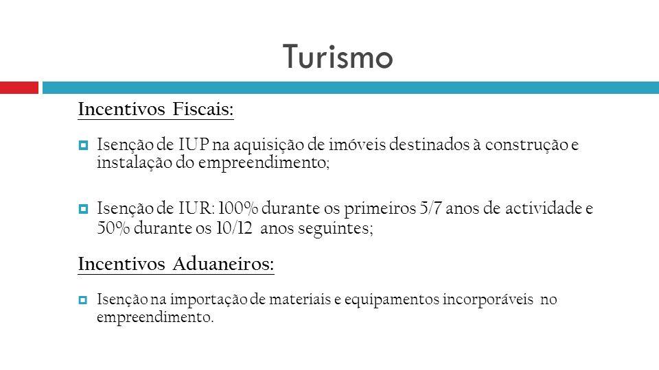 Turismo Incentivos Fiscais: Isenção de IUP na aquisição de imóveis destinados à construção e instalação do empreendimento ; Isenção de IUR: 100% duran