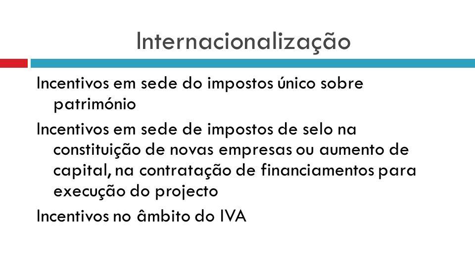 Internacionalização Incentivos em sede do impostos único sobre património Incentivos em sede de impostos de selo na constituição de novas empresas ou