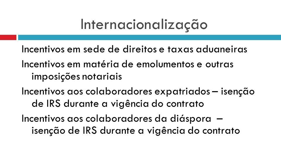 Internacionalização Incentivos em sede de direitos e taxas aduaneiras Incentivos em matéria de emolumentos e outras imposições notariais Incentivos ao