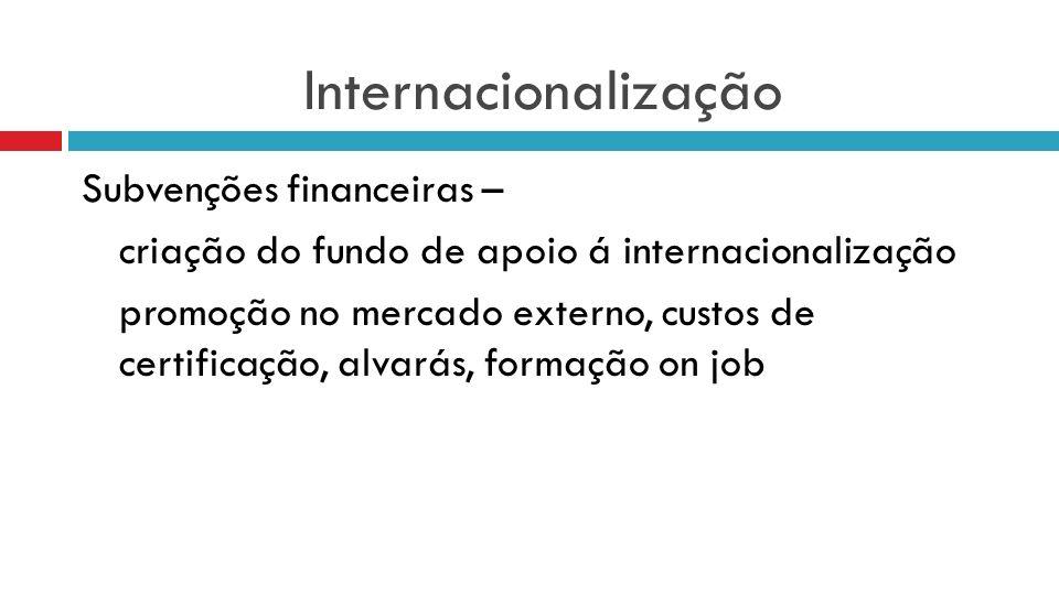 Internacionalização Subvenções financeiras – criação do fundo de apoio á internacionalização promoção no mercado externo, custos de certificação, alva